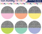 Silver Glitter Circles Clipart Glitter Dipped Circle Shapes Clip Art Graphics Commercial Use OK