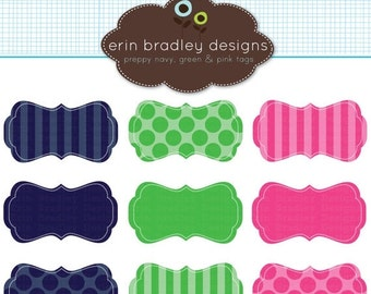 60% OFF SALE Preppy Frames Clipart Clip Art Personal and Commercial Use Navy Blue Green Pink