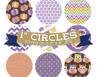 "ON SALE Digital Collage Sheet 1"" Digital Bottlecap Images Pumpkin Owls Purple Personal & Commercial Use One Inch Circles"