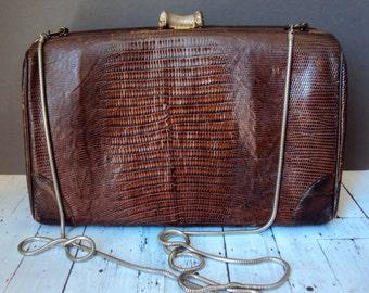 Small Vintage Alligator Skin Leather Purse Boho