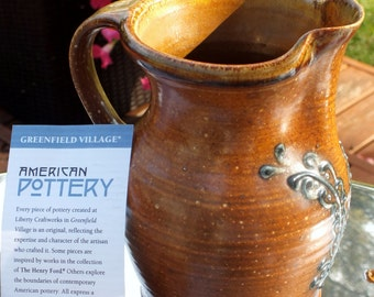 Art pottery from Greenfield Village in Michigan Artist signed by Sarah Gelsanliter