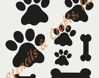 "PAW PAWS STENCIL bones different sizes bone paw prints stencils pattern animal template templates craft pochoir scrapbook new 8"" x 10"""