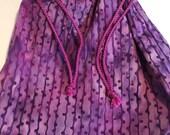 Purple Batik Small Lined Drawstring Project Bag