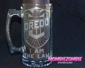 Judge DREDD badge etched Beer Stein / Mug Customization available!
