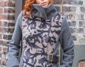 Asymmetrical women's statement coat • Brown painted wool & grey Italian virgin merino boiled wool • two tone Cowl collar coat