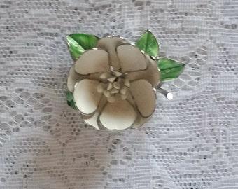 Gorgeous, Vintage 1960's Enamel Flower Pin, Brooch