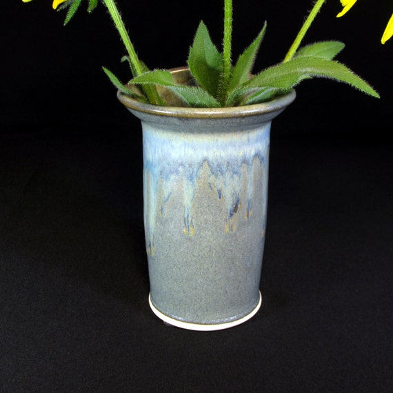 Vase for Table or Wall - Wall Mounted Vase - Wall Pocket - Hanging Wall Vase - Brown and Blue Vase - In Stock