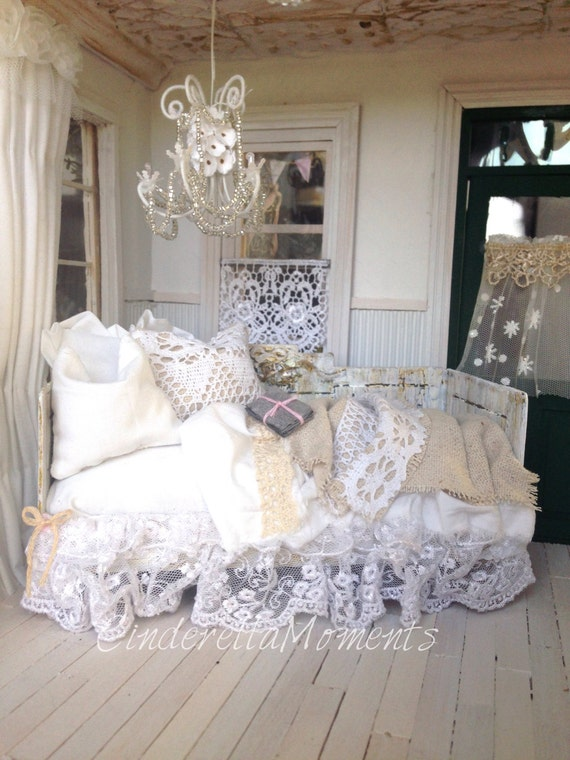 Dollhouse Shabby Chic Daybed by cinderellamoments on Etsy