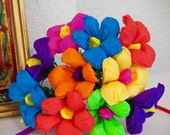 Small Colorful Mexican Paper Flower  Bouquet of 10 - Perfect for a gift or to add to your Day of the Dead altar