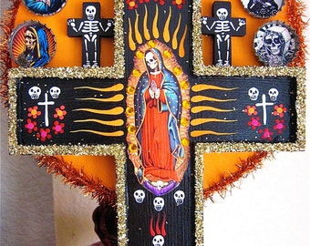 Sale- Day of the Dead GUADELUPE SKULL Original Photo-  Perfect picture to add to your shrine