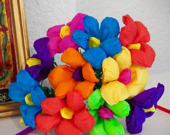 Sale- Small Colorful Mexican Paper Flower  Bouquet of 10 - Perfect for a gift or to add to your Day of the Dead altar