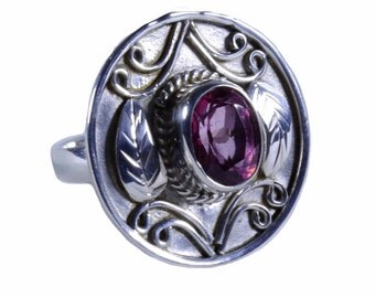 Artisan crafted sterling silver Balinese ring with pink faceted topaz size 8 can be adjusted shipping within Canada and U.S.A