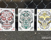 Day of the Dead Skulls *NEW* Letterpress ART PRINTS (Assorted Set of 3)