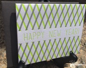 Hapy New Year Stripes - Letterpress Holiday Greeting Card (single)