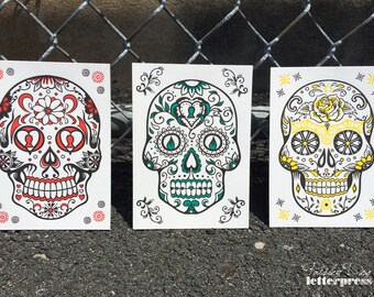 Day of the Dead Skulls *NEW* Letterpress ART PRINTS (Assorted Set of 3)