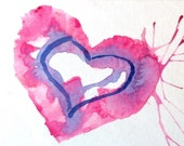 Sweet Valentine:  pink and blue watercolor reproduction (#8)  Blank Note Card, 4.25x5.5 inches