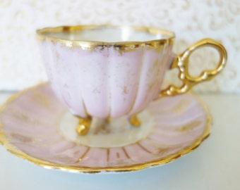Pink Lusterware Footed Teacup, Japanese Pink Footed Tea Cup, Iridescent Pink Teacup, Teacup and Saucerno 26