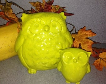 Chartreuse Fat and small Owl Statues Great fall color  #0903-OWL set