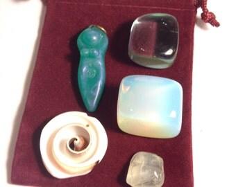 Mermaid Goddess Blessing Pocket Altar (medicine bundle, priestess, ritual, ceremony, water)