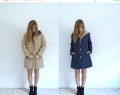 30% off ... 70s Reversible Hooded Khaki Rain and Navy Blue Quilted Parka Jacket Coat - XS