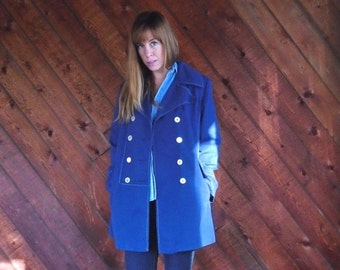 extra 30% off SALE ... Navy Blue Double Breasted Trench Pea Coat - Vintage 70s - MEDIUM M