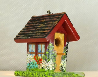 Maroon and Golden Brown Decorative Birdhouse , Handmade and Hand Painted