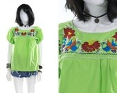 Mexican Oaxacan Blouse Embroidered Floral Lime Green Vintage Shirt Boho Top