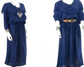 Navy Blue Handkerchief Dress Knit Batwing Dress