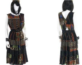 Vintage Jumper Dress Cutout Tribal Graphic Print Sundress