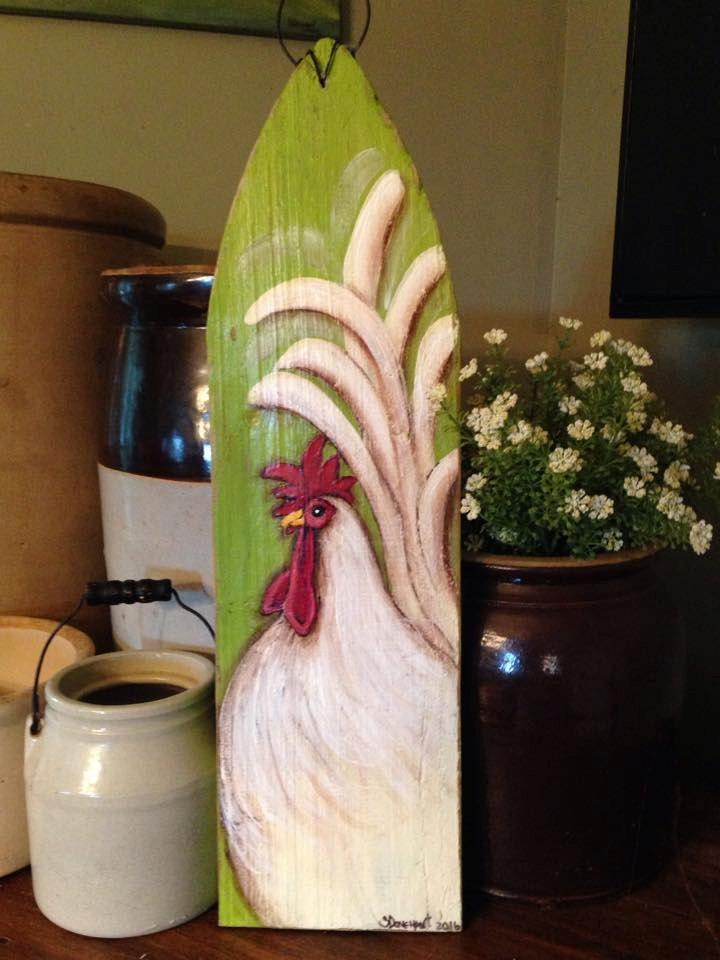 Rooster painting rooster decor rooster kitchen decor - Kitchen rooster decor ...