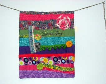 Colorful Fabric Scrap Flag Emboridered Spread Joy, wall hanging, garden flag, home decor, wall decoration