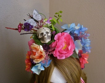 Rebirth: Day of the Dead Headband Headpiece Skull Flowers Ode to Frida Kahlo Butterfly Nest Pink Blue Colorful Ribbon Folk Halloween Costume