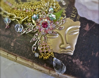 The Water Sprite: Fairy Necklace Choker Vintage Assemblage Statement Pink Aurora Crystals Rhinestones Jeweled Faerie Face BEAUTIFUL