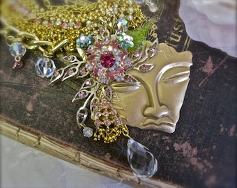 The Water Sprite: Fairy Necklace Wedding Choker Vintage Assemblage Statement Pink Aurora Crystals Rhinestones Jeweled Faerie Face BEAUTIFUL
