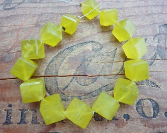 Olive Jade Serpentine Beads Diagonal Cube Beads (14) #B