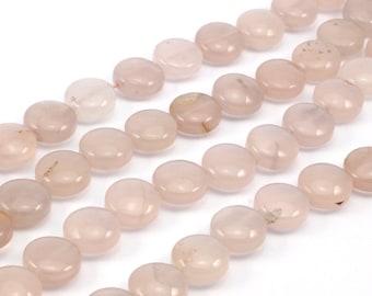 Pink Quartz 14 Mm Gemstone Coin Beads 15.5 Inches Full Strand G167 T028