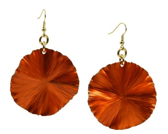 Orange Anodized Aluminum Lily Pad Earrings - Orange Leaf Earrings -  Orange Drop Earrings - A Cool 10th Wedding Anniversary Gift!