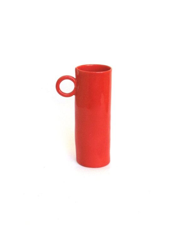 coral red  hand built  porcelain cup   ...   tall  ...   mid century modern