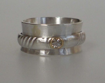 Diamond spinner ring 18ct gold and silver ready to ship size 81/4 : Q Free shipping
