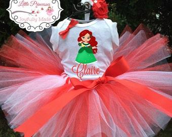 Personalized Ariel Outfit - Holiday Tutu Set - Ariel Shirt