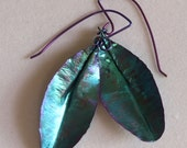 Anodized Niobium Textured Leaf Shaped earrings