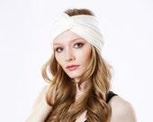 FREE SHIPPING- Women's Gift- Turban Headband Women- Headwrap- Hair Accessory- Ivory Headband- Boho Chic- Fall Accessory- 1920s Headband