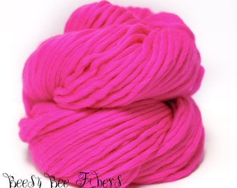 PINK FLAMENCO - Super Bulky Yarn Chunky Knitting, Pencil Roving, Chochet, Weaving Merino Yarn - 200 grams skein