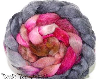 LANDSLIDE - Mohair Nylon Merino Blend Roving Wool Combed Top Spinning or Felting - 3.7 oz