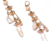 peach or white freshwater pearl crystal gold-filled cluster drop cascade statement earrings
