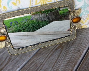 Gold Tone Mirrored Vanity Tray with Amber Enameled Bows
