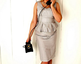 Miss Chloe gets the Call - Vintage reproduction cotton print wiggle dress with pencil skirt ~ and sexy peplum