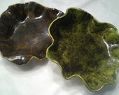 Shimmering Mineral Bowls- Handmade Ceramic Art Sculpture - READY TO SHIP - Wavy Asymmetrical Round Green Peridot & Brown Citrine