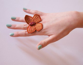 Butterfly Statement Cocktail Ring Textile Fabric  Ring Natural History Jewelry Entomology Woodland Gift for Her Nature Lover Gift Under 50