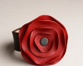 FALL SALE leather cuff, leather scarf cuff, Rouge Red poppy scarf cuff